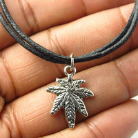Antique Silver Marijuana Leaf Cannabis Necklace Pot Choker with Charm