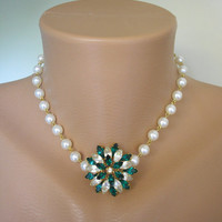 Green Flower Necklace, Emerald Rhinestone, Emerald and Pearl, Upcycled Jewelry, Gift For Woman, Bridal Jewelry, Rockabilly, Vintage Style