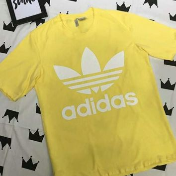Adidas Fashion Women Casual Big Logo Print Short Sleeve T-Shirt Top Yellow I-AG-CLWM
