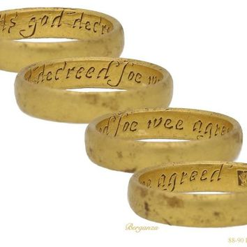 """17th-18th Century Gold Posy Ring """"As god decreed soe wee agreed"""""""