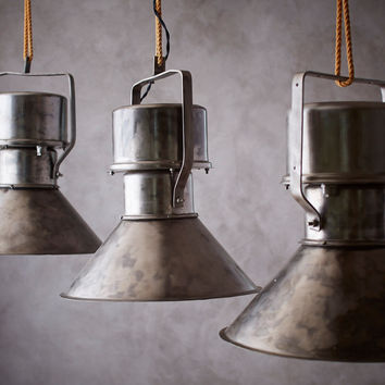 Vintage Industrial Light - Brushed Metal Ceiling light, Hanging Light-Salvaged from old Eurpean factories, Restaurant Light, Kitchen Light