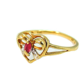 10k Gold Ruby Heart Sweetheart Ring Perfect for Granddaughter or Promise Ring