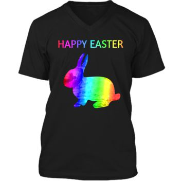 Happy Easter - Easter Bunny water color rainbow Rabbit Mens Printed V-Neck T