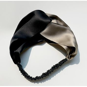 0032ea7d2ce GUCCI Summer Smooth Silk Black Silvery Color Matching Headband Warmer Head  Headwrap Hair Band I13353