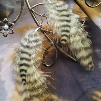 Green and Black Grizzly Feather Earrings