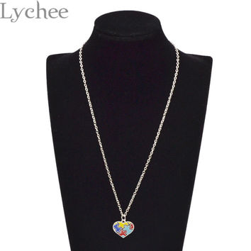 Lychee Autism Awareness Puzzle Piece Heart Pendant Necklace Link Chain Autism Hope Jewelry