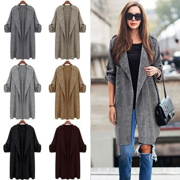 Women's Trench Coat Jacket Thin Duster Overcoat Tops Open Front Blazer Plus Size