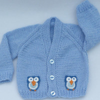 Hand knitted sky blue baby cardigan 0 to 3 months