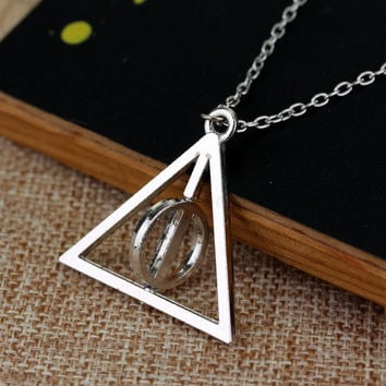 H P Necklace Luna Lovegood Resurrection Stone Rotatable Triangle Pendant Deathly Hallows Chain Statement Necklace Gifts