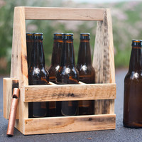 Beer Caddy - Wooden Beer Carrier, 6 pack + opener - Beer Carrier - Home Brewing - Beer Enthusiasts