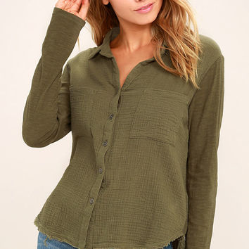 Take the Long Way Home Olive Green Button-Up Top