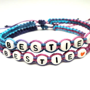 Friendship Bracelet Set, Bestie, Purple Haze Macrame Hemp, Adjustable Bracelets
