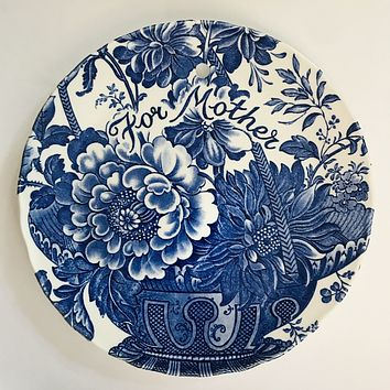 Mother's Day Blue Toile Charlotte Transferware Plaque English Ironstone For Mother  Victorian Garden Decor - Roses