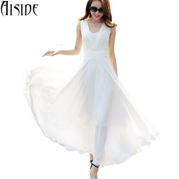 S~5XL women dress sexy V neck elegant white long maxi dress chiffon party dresses high waist boho robe femme vestido de festa