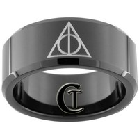 10mm Black Beveled Tungsten Carbide Deathly Hallows Design Ring Sizes