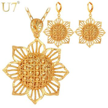 U7 Dubai Gold Color Jewelry Set With Trendy Party Round Earrings Big Sun Flower Necklace Set For Women Gift S733