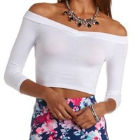 V-Neck Off-the-Shoulder Crop Top by Charlotte Russe