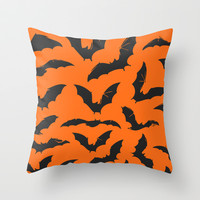 Bats Throw Pillow by Sara Eshak