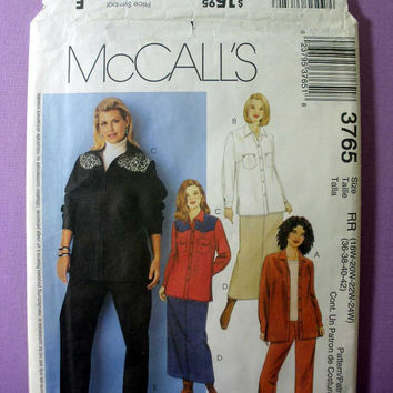 "Women's Shirts, Skirt, Jeans McCall's 3765 Plus / Petite Size 18, 20, 22, 24 Bust 36, 38, 40, 42"" Sewing Pattern Uncut"