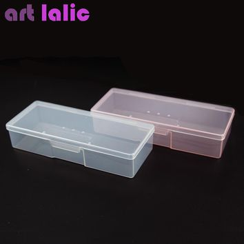 Nail Polish Holder Plastic Nail Supplies Storage pen Box Rectangle Nail Art Studs Brushes Tools Holder Case Manicure Tools