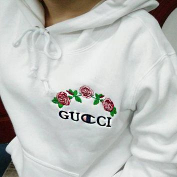 Gucci X Champion Trending Unisex Hoodie Sweater Pullover Top I