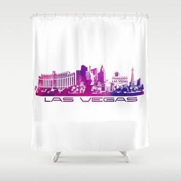 Las Vegas skyline purple Shower Curtain by Jbjart