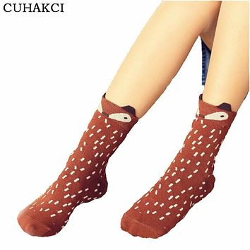 High Quality Spring Ladie's Band Socks Casual Women Sock Breathe Absorb Sweat Female Pure Cotton Girls Creative Cartoon Fox W035