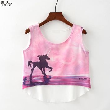 Multi Colors T-Shirts 3D Print Women Tank Tops Black Unicorn Camis Camisoles Totem Elephant Tanks Short Tees Irregular Crop Top