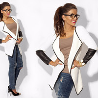 Lightweight Faux Leather Sleeves Cardigan