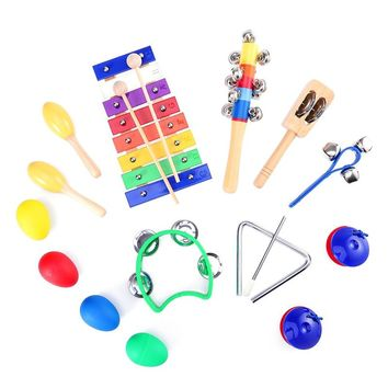 15pcs Kids Musical Instruments Percussion Toy Rhythm Band Set Preschool Educational Tools with Carrying Bag FREE SHIPPING