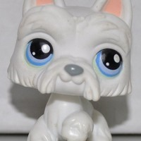 Scottie #24 (White, Blue Eyes) Littlest Pet Shop (Retired) Collector Toy - LPS Collectible Replacement Single Figure - Loose (OOP Out of Package & Print)