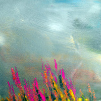Brooding Skies Flower Garden Landscape Original Monotype hand pulled print painting with Mat