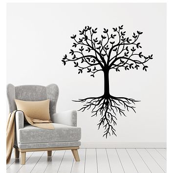 Vinyl Wall Decal Leaves Tree Family Floral Roots Forest Nature Stickers Mural (g1089)