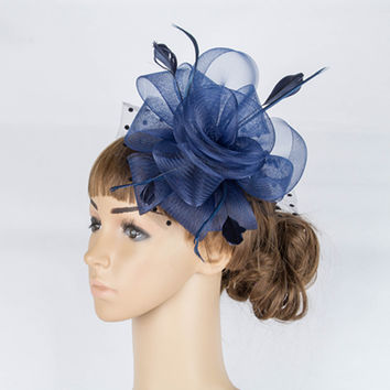 Fancy color crinoline fascinator headwear  colorful mesh feather church show hair accessories millinery cocktail hat MYQ039