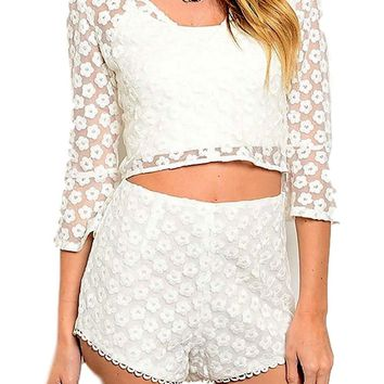 Lace Top and Short Set, Ivory