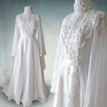 1970s Romantic Bohemian Wedding Gown Boho Dress Edwardian