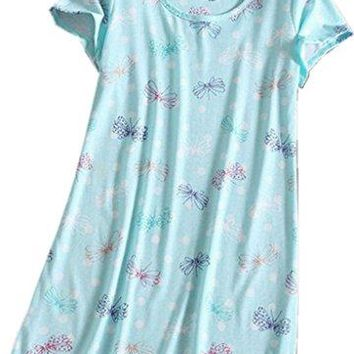 Amoy madrola Womens Nightgown Cotton Sleep Tee Nightshirt Casual Print Sleepwear