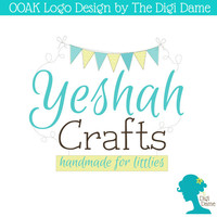 OOAK Premade Logo Design: Whimsical Bunting in Brown, Teal and Lime