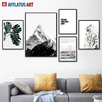 Snow Mountain Owl Leaf Seascape Quotes Wall Art Canvas Painting Nordic Posters And Prints Wall Pictures For Living Room Decor