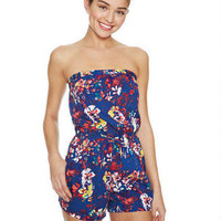 Floral Pull-On Tube Romper - Navy Multi