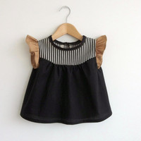 girls' cotton blouse with striped detail