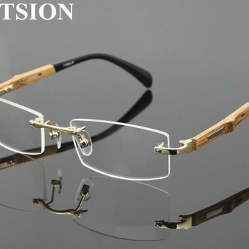 bde43a34772 Pure Titanium Rimless Reading Glasses Wooden Full Rim unisex Ret