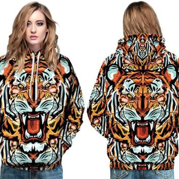 Wild Animal Pattern Hooded Pullover Colorful Cartoon Tiger Sweatshirt Autumn Winter Full Sleeves Skateboard Hoodies Women Jacket