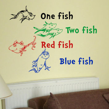 Dr Seuss One Fish Two Fish Red Fish Blue Fish wall quote phrase word saying vinyl decal