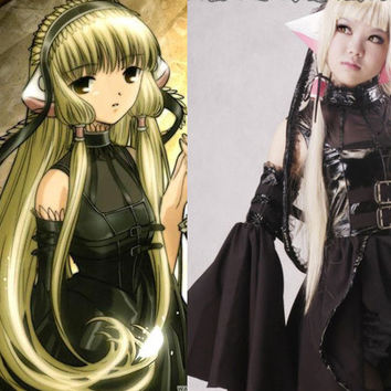 Chobits Freya Chobits Dark Chii Cosplay Leather Dress Costume