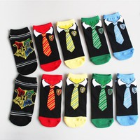 Factory Outlet Summer Low Cut Socks Men Women Ankle Socks Harry Potter Tie Personality Cartoon Socks