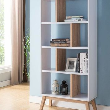 Wooden Display Cabinet With 4 Shelves In White And Brown