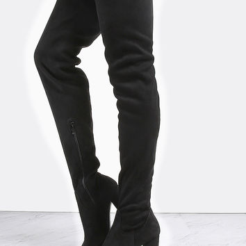 Sparkle Stretch Thigh High Booties BLACK | MakeMeChic.COM