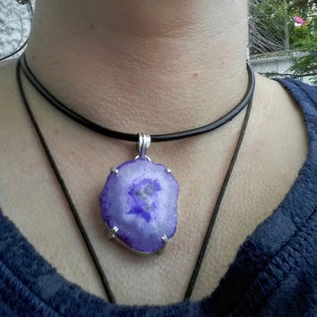 Purple solar quartz crystal gemstone  choker, pendant necklace