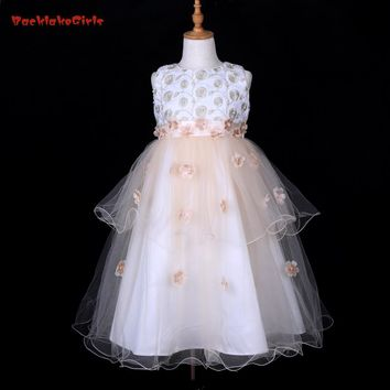 Don's Bridal Tiered Organza Flower Girl Dresses Ankle-Length For Scoop Ball Gown  Embed Pearls Appliques Kids Gowns